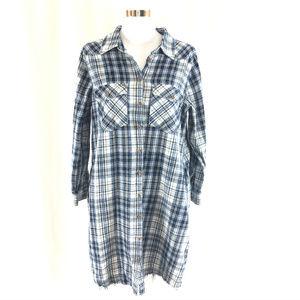 Soft Surroundings Shirt Dress Plaid Flannel Button
